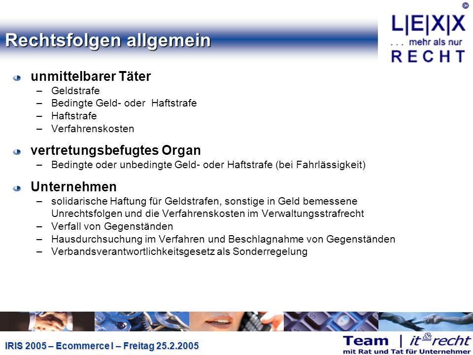 IRIS 2005 – Ecommerce I – Freitag 25.2.2005 Signaturgesetz I (§ 26 (1) u.