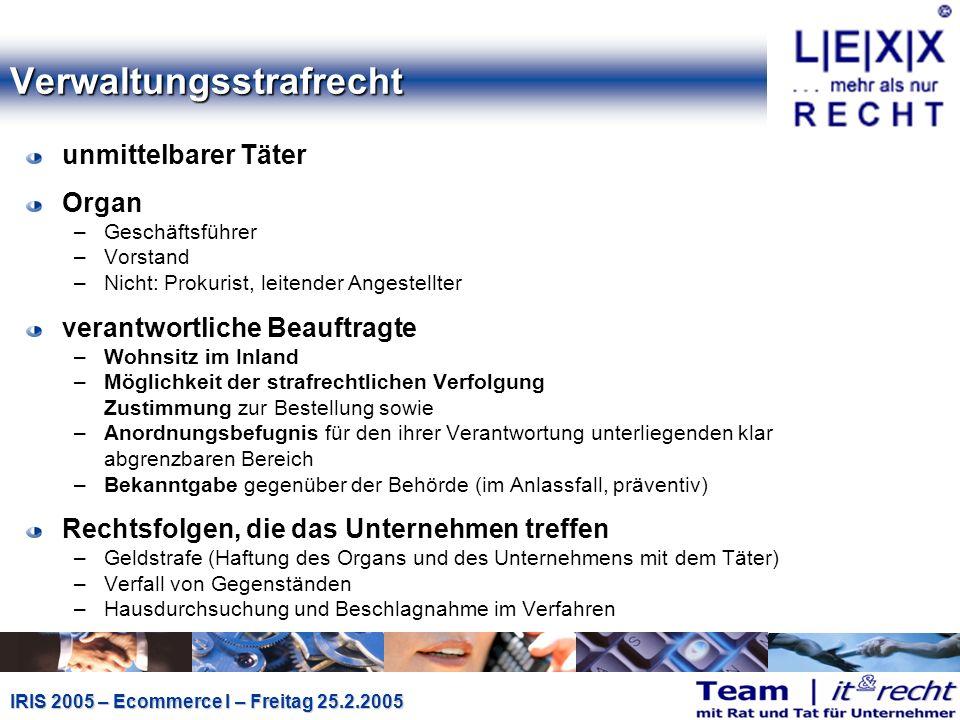 IRIS 2005 – Ecommerce I – Freitag 25.2.2005 Signaturgesetz II (§ 26 (3) u.