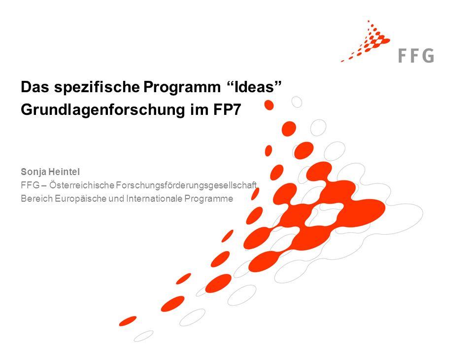 Sonja Heintel FFG – Österreichische Forschungsförderungsgesellschaft Bereich Europäische und Internationale Programme Das spezifische Programm Ideas Grundlagenforschung im FP7