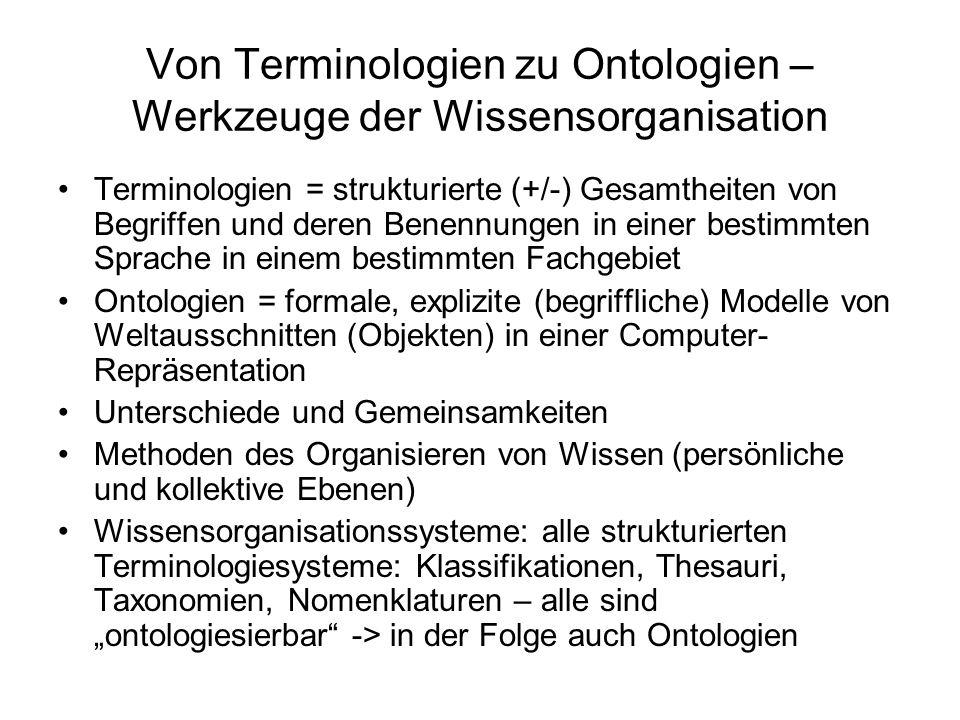 Von Terminologien zu Ontologien – Werkzeuge der Wissensorganisation Terminologien = strukturierte (+/-) Gesamtheiten von Begriffen und deren Benennung