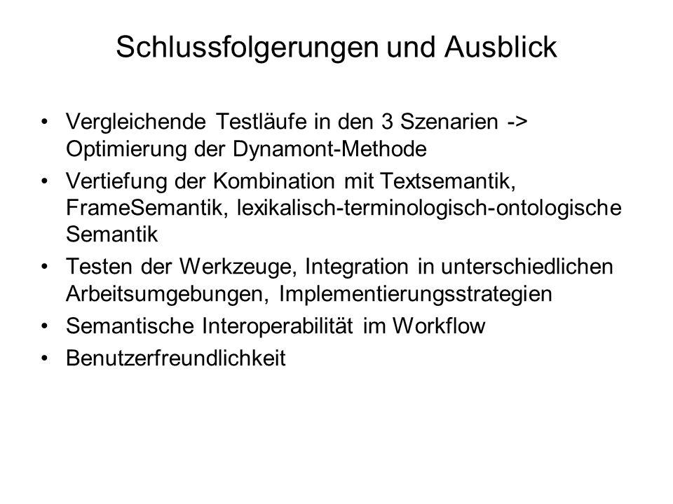 Schlussfolgerungen und Ausblick Vergleichende Testläufe in den 3 Szenarien -> Optimierung der Dynamont-Methode Vertiefung der Kombination mit Textsemantik, FrameSemantik, lexikalisch-terminologisch-ontologische Semantik Testen der Werkzeuge, Integration in unterschiedlichen Arbeitsumgebungen, Implementierungsstrategien Semantische Interoperabilität im Workflow Benutzerfreundlichkeit