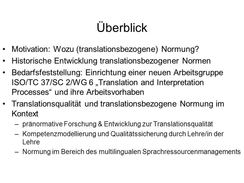 Überblick Motivation: Wozu (translationsbezogene) Normung? Historische Entwicklung translationsbezogener Normen Bedarfsfeststellung: Einrichtung einer