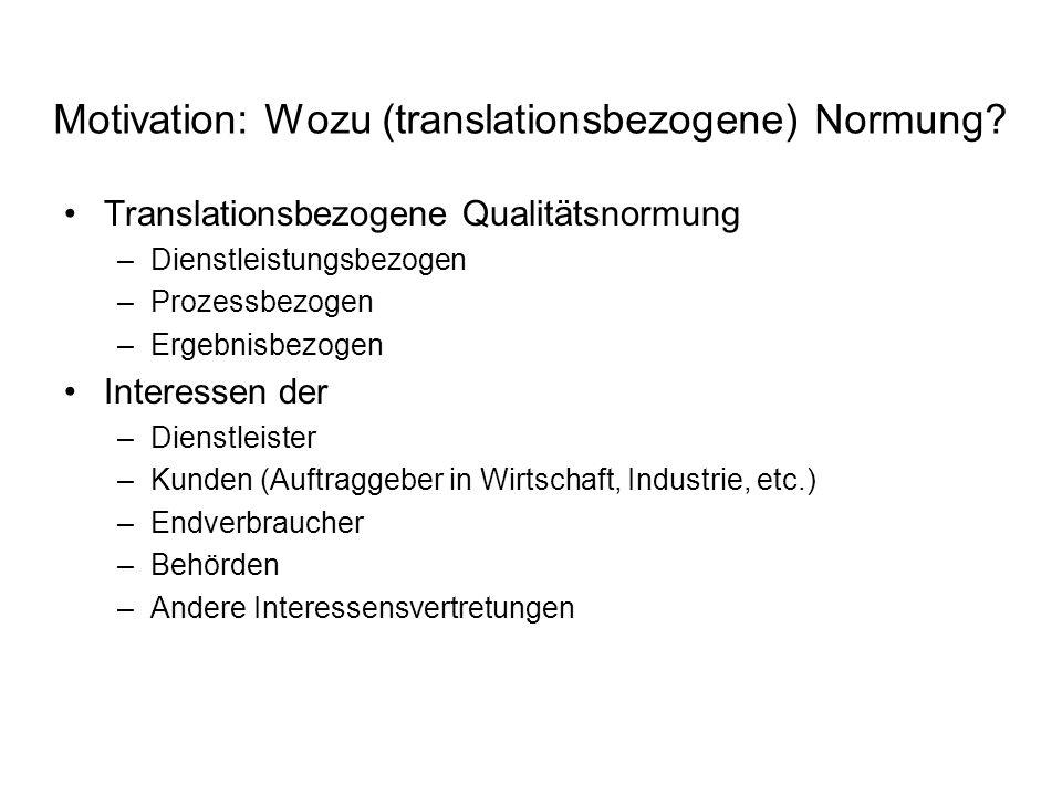 Motivation: Wozu (translationsbezogene) Normung? Translationsbezogene Qualitätsnormung –Dienstleistungsbezogen –Prozessbezogen –Ergebnisbezogen Intere