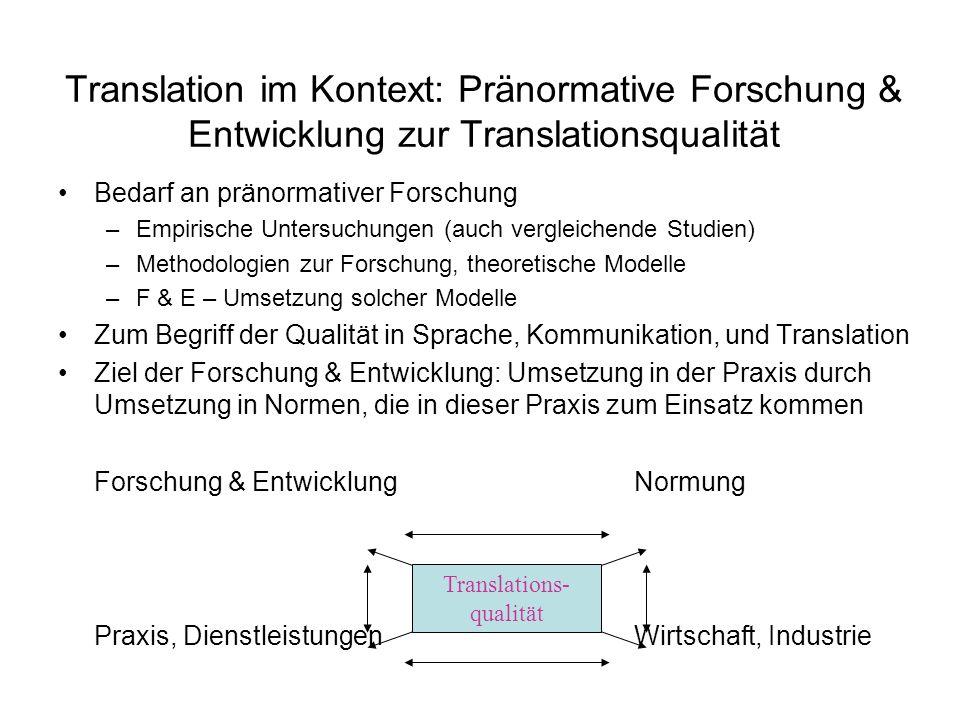 Translation im Kontext: Pränormative Forschung & Entwicklung zur Translationsqualität Bedarf an pränormativer Forschung –Empirische Untersuchungen (au