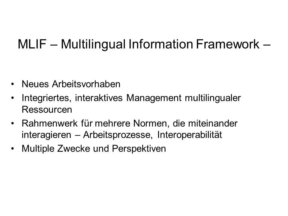 MLIF – Multilingual Information Framework – Neues Arbeitsvorhaben Integriertes, interaktives Management multilingualer Ressourcen Rahmenwerk für mehrere Normen, die miteinander interagieren – Arbeitsprozesse, Interoperabilität Multiple Zwecke und Perspektiven