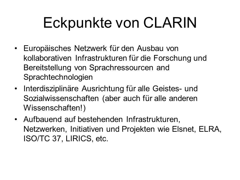 Eckpunkte von CLARIN Europäisches Netzwerk für den Ausbau von kollaborativen Infrastrukturen für die Forschung und Bereitstellung von Sprachressourcen and Sprachtechnologien Interdisziplinäre Ausrichtung für alle Geistes- und Sozialwissenschaften (aber auch für alle anderen Wissenschaften!) Aufbauend auf bestehenden Infrastrukturen, Netzwerken, Initiativen und Projekten wie Elsnet, ELRA, ISO/TC 37, LIRICS, etc.