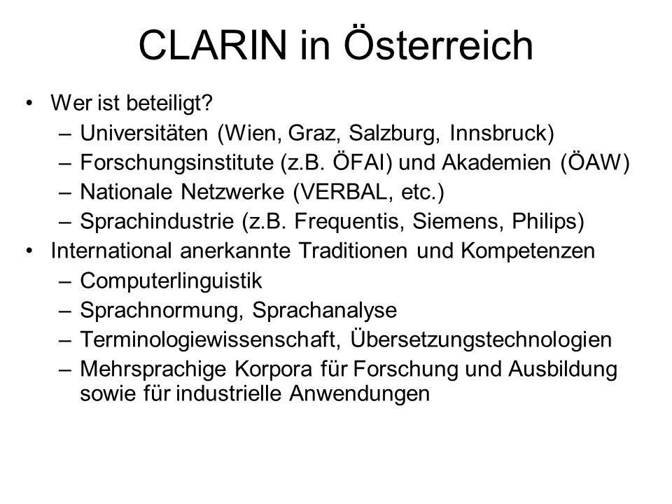 CLARIN in Österreich Wer ist beteiligt? –Universitäten (Wien, Graz, Salzburg, Innsbruck) –Forschungsinstitute (z.B. ÖFAI) und Akademien (ÖAW) –Nationa