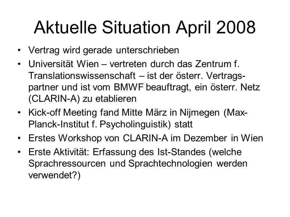 Aktuelle Situation April 2008 Vertrag wird gerade unterschrieben Universität Wien – vertreten durch das Zentrum f. Translationswissenschaft – ist der