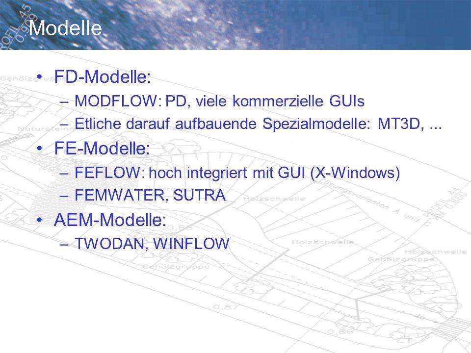 Modelle FD-Modelle: –MODFLOW: PD, viele kommerzielle GUIs –Etliche darauf aufbauende Spezialmodelle: MT3D,...