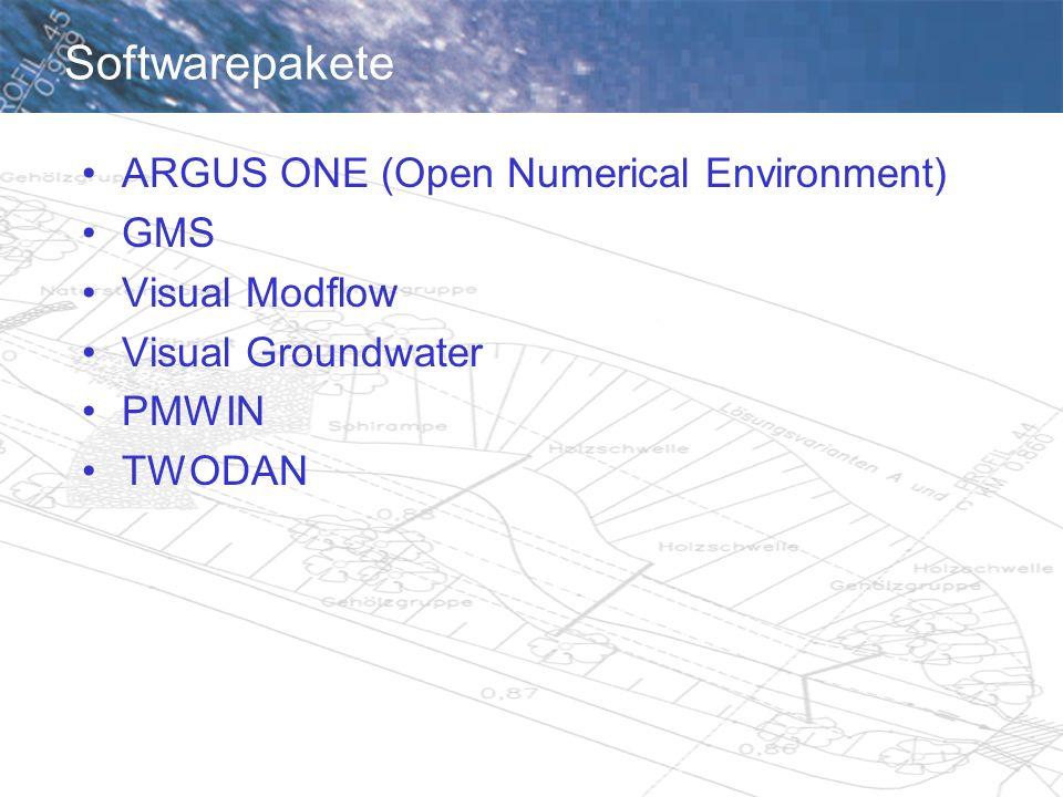 Informationen, Bezugsquellen Scientific Software Group www.scisoftware.comwww.scisoftware.com USGS http://water.usgs.gov/software/ground_water.htmlhttp://water.usgs.gov/software/ground_water.html