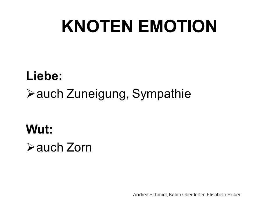 Andrea Schmidl, Katrin Oberdorfer, Elisabeth Huber KNOTEN EMOTION Liebe: auch Zuneigung, Sympathie Wut: auch Zorn