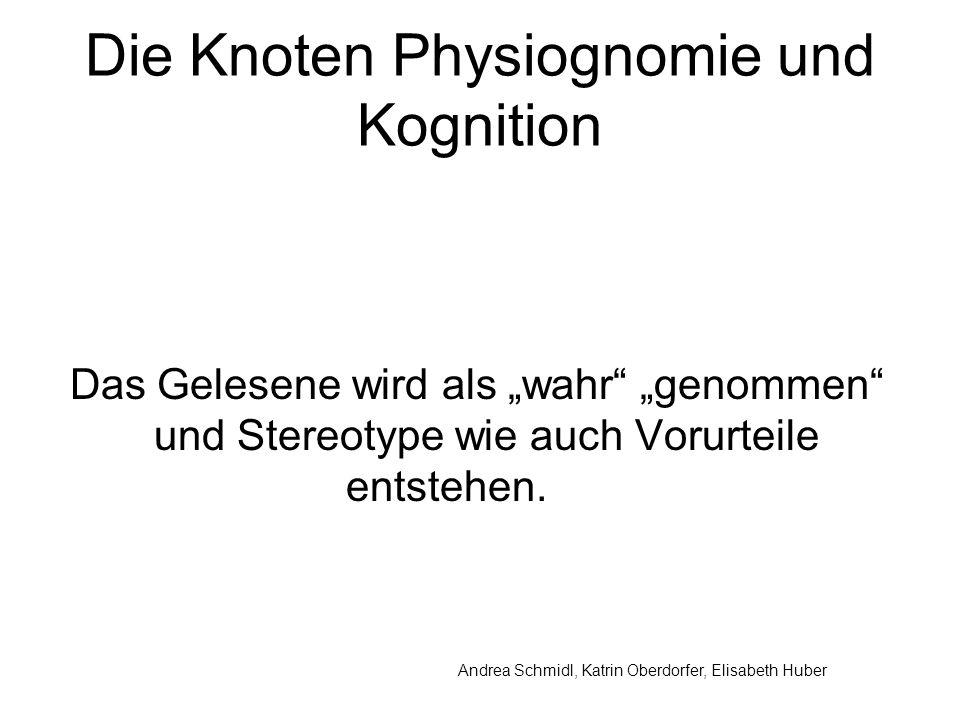 Andrea Schmidl, Katrin Oberdorfer, Elisabeth Huber Die Knoten Physiognomie und Kognition Das Gelesene wird als wahr genommen und Stereotype wie auch Vorurteile entstehen.