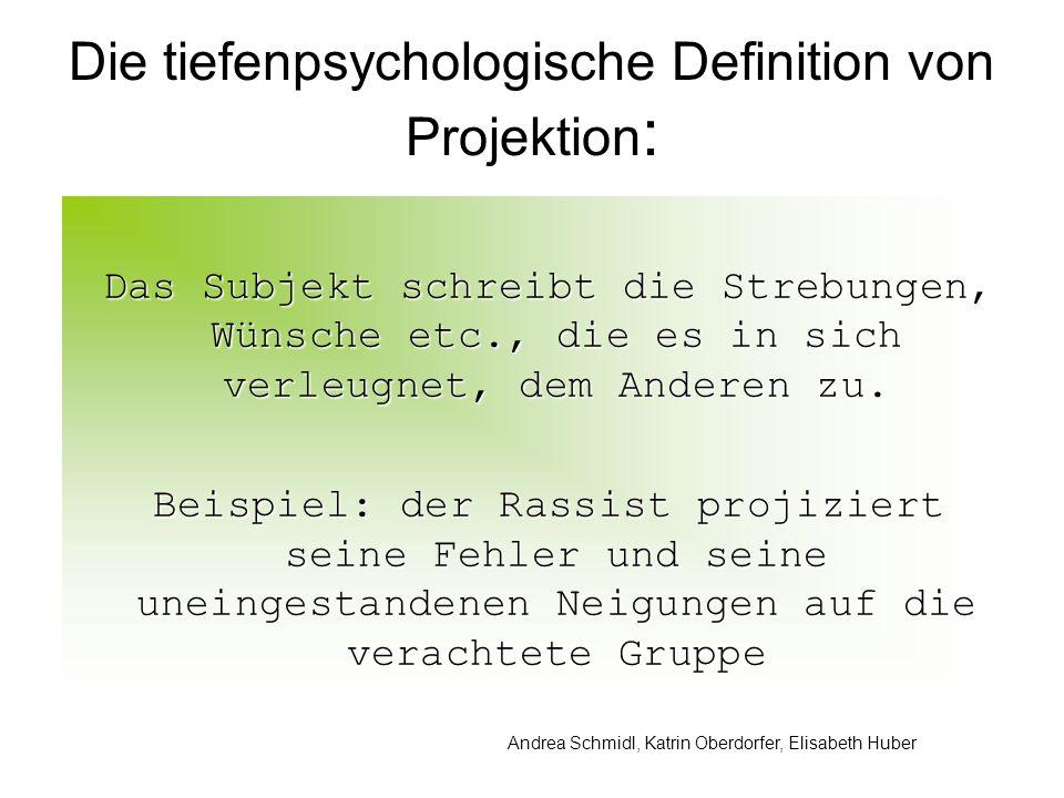 Andrea Schmidl, Katrin Oberdorfer, Elisabeth Huber Die tiefenpsychologische Definition von Projektion : Das Subjekt schreibt die Strebungen, Wünsche etc., die es in sich verleugnet, dem Anderen zu.