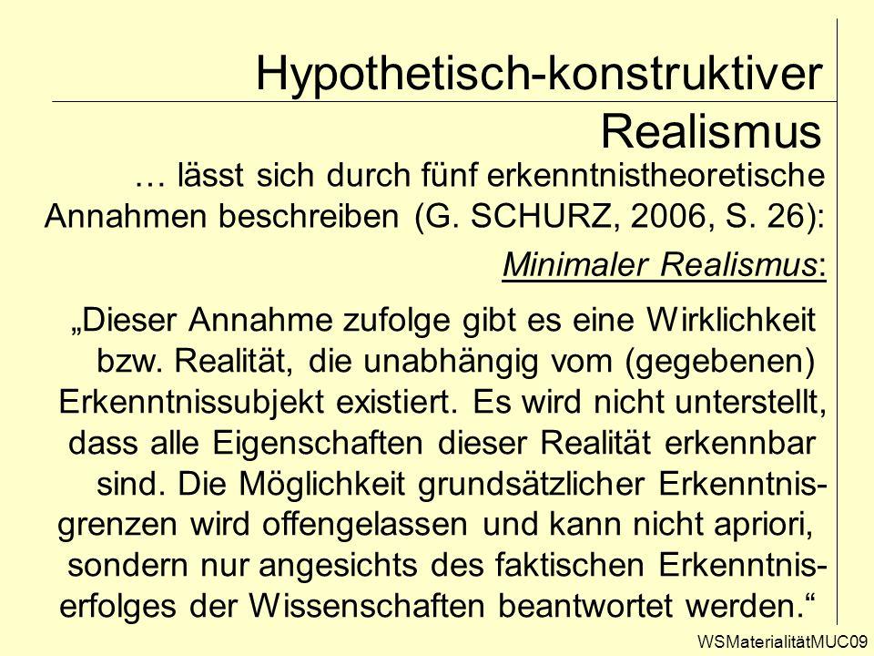Hypothetisch-konstruktiver Realismus WSMaterialitätMUC09 … lässt sich durch fünf erkenntnistheoretische Annahmen beschreiben (G. SCHURZ, 2006, S. 26):