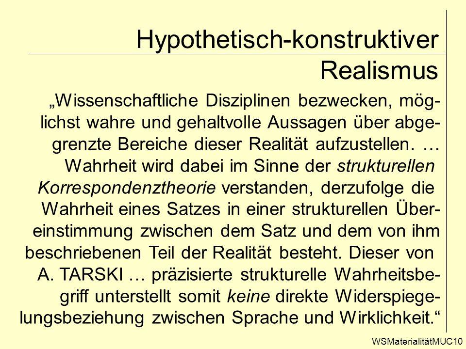 WSMaterialitätMUC10 Hypothetisch-konstruktiver Realismus Wissenschaftliche Disziplinen bezwecken, mög- lichst wahre und gehaltvolle Aussagen über abge