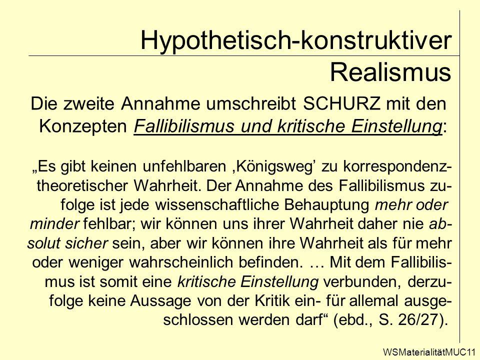 WSMaterialitätMUC11 Hypothetisch-konstruktiver Realismus Die zweite Annahme umschreibt SCHURZ mit den Konzepten Fallibilismus und kritische Einstellun