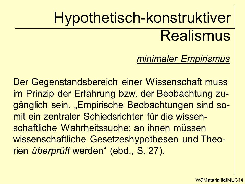 WSMaterialitätMUC14 Hypothetisch-konstruktiver Realismus minimaler Empirismus Der Gegenstandsbereich einer Wissenschaft muss im Prinzip der Erfahrung