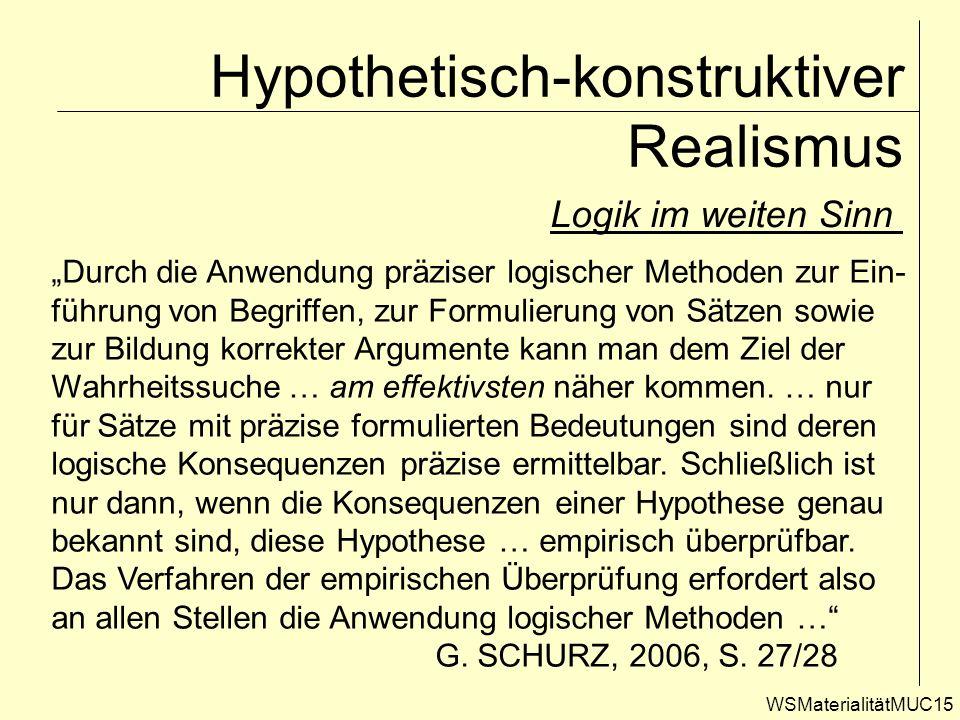 WSMaterialitätMUC15 Hypothetisch-konstruktiver Realismus Logik im weiten Sinn Durch die Anwendung präziser logischer Methoden zur Ein- führung von Beg