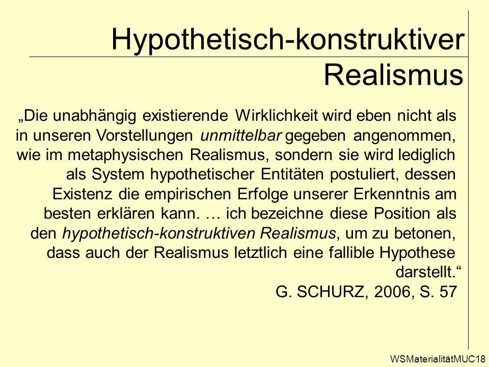 WSMaterialitätMUC18 Hypothetisch-konstruktiver Realismus Die unabhängig existierende Wirklichkeit wird eben nicht als in unseren Vorstellungen unmitte