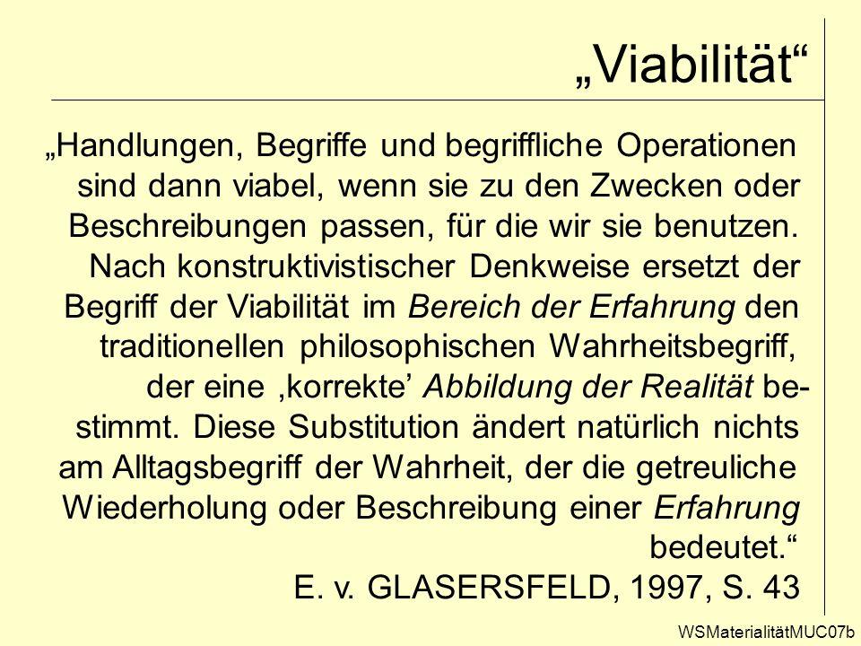 Viabilität WSMaterialitätMUC07b Handlungen, Begriffe und begriffliche Operationen sind dann viabel, wenn sie zu den Zwecken oder Beschreibungen passen