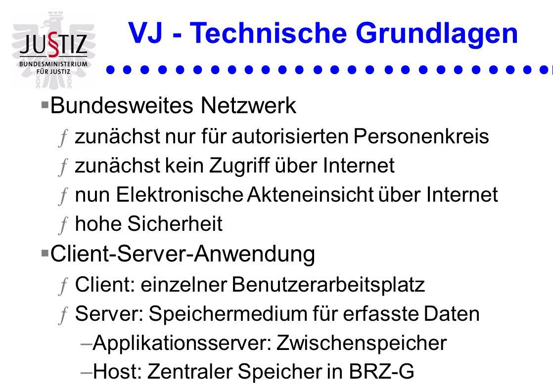 VJ - Technische Grundlagen Bundesweites Netzwerk ƒzunächst nur für autorisierten Personenkreis ƒzunächst kein Zugriff über Internet ƒnun Elektronische