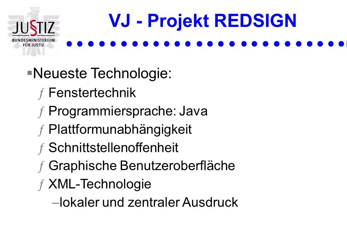 VJ - Projekt REDSIGN Neueste Technologie: ƒFenstertechnik ƒProgrammiersprache: Java ƒPlattformunabhängigkeit ƒSchnittstellenoffenheit ƒGraphische Benu