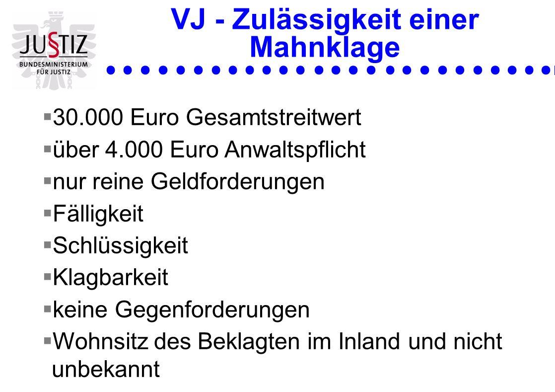 VJ - Zulässigkeit einer Mahnklage 30.000 Euro Gesamtstreitwert über 4.000 Euro Anwaltspflicht nur reine Geldforderungen Fälligkeit Schlüssigkeit Klagb