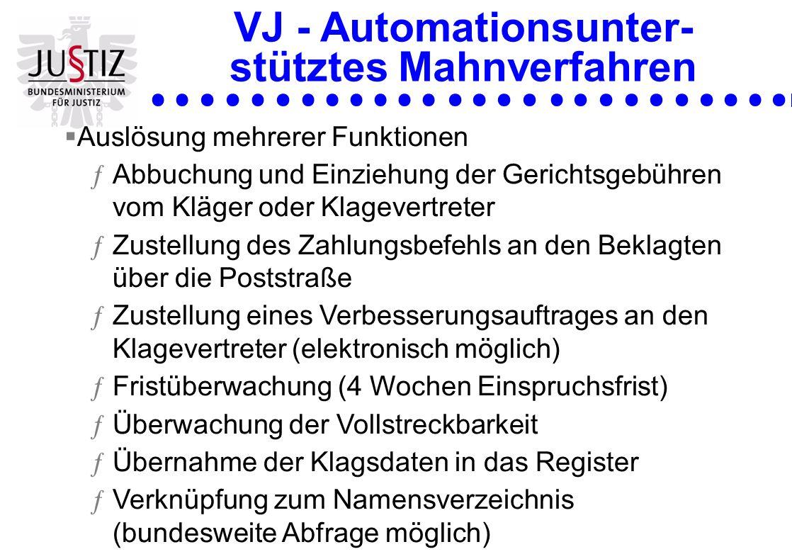 VJ - Automationsunter- stütztes Mahnverfahren Auslösung mehrerer Funktionen ƒAbbuchung und Einziehung der Gerichtsgebühren vom Kläger oder Klagevertre