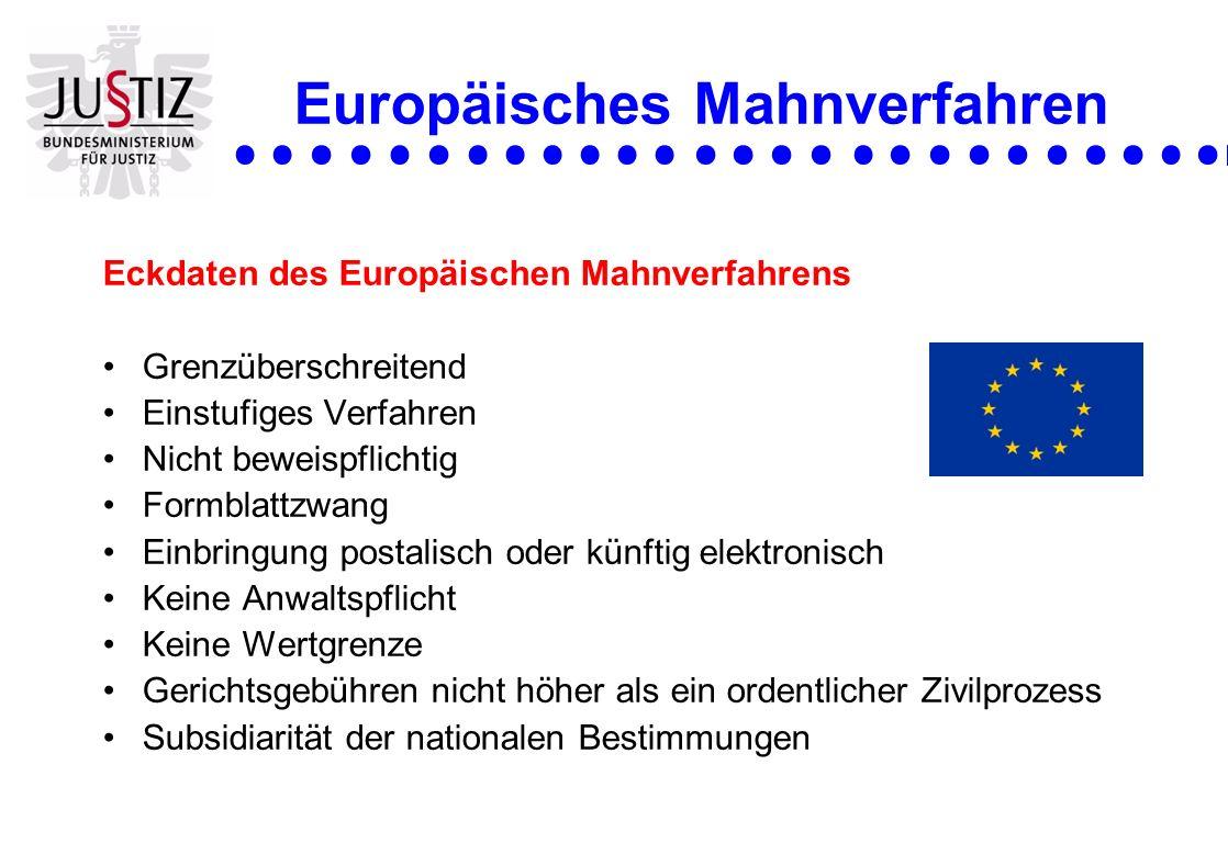 Europäisches Mahnverfahren Eckdaten des Europäischen Mahnverfahrens Grenzüberschreitend Einstufiges Verfahren Nicht beweispflichtig Formblattzwang Ein