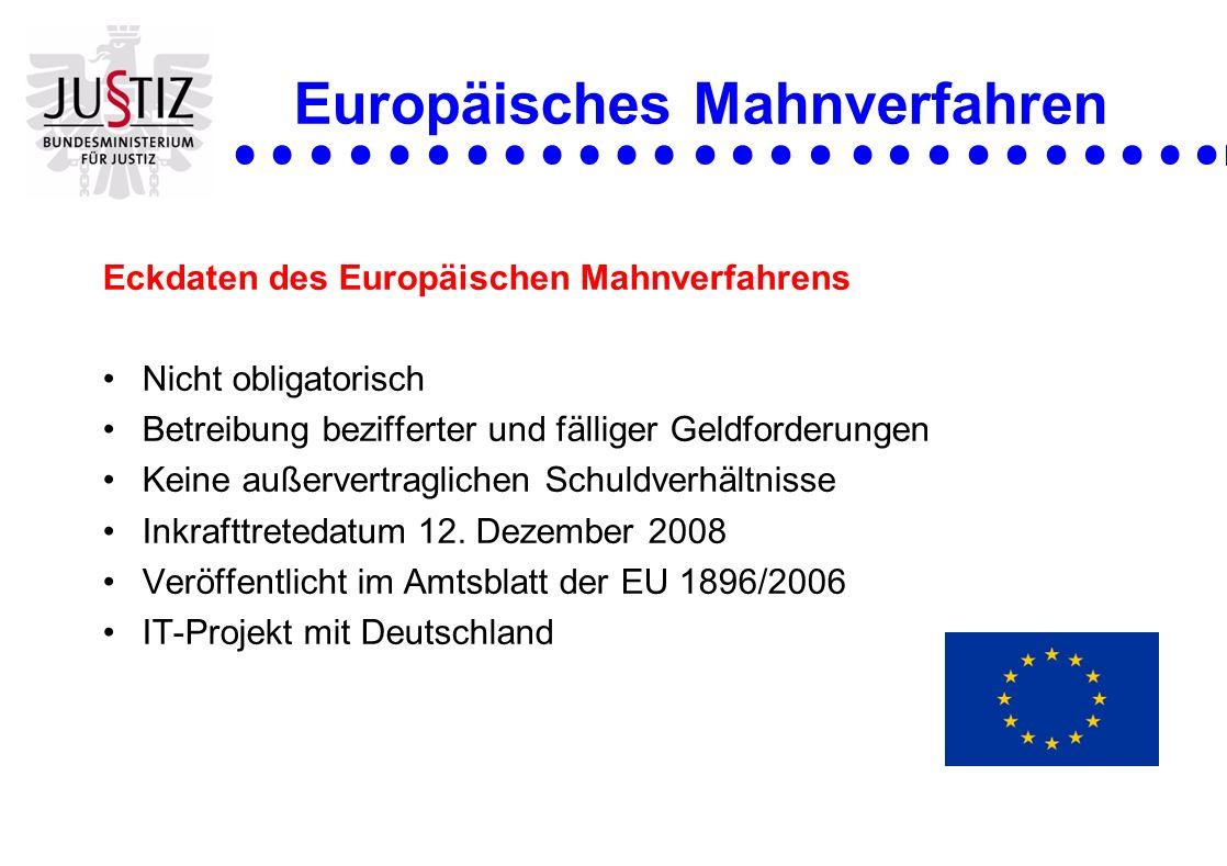 Europäisches Mahnverfahren Eckdaten des Europäischen Mahnverfahrens Nicht obligatorisch Betreibung bezifferter und fälliger Geldforderungen Keine auße