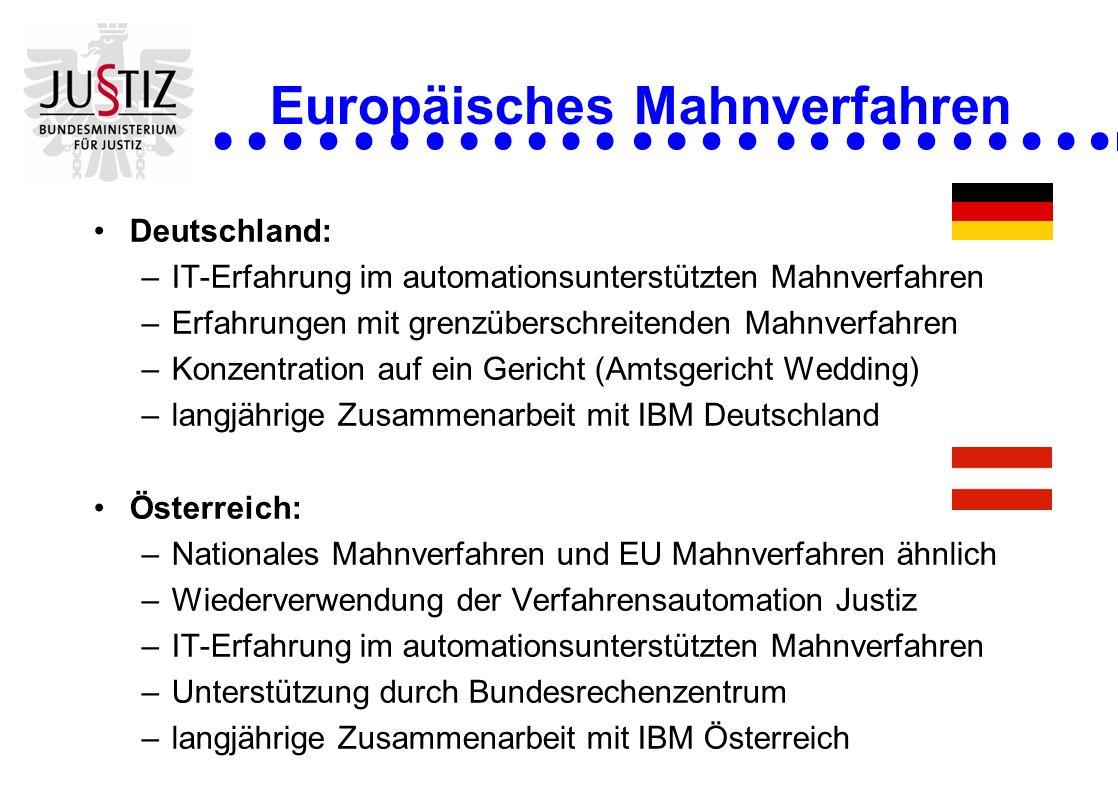 Europäisches Mahnverfahren Deutschland: –IT-Erfahrung im automationsunterstützten Mahnverfahren –Erfahrungen mit grenzüberschreitenden Mahnverfahren –