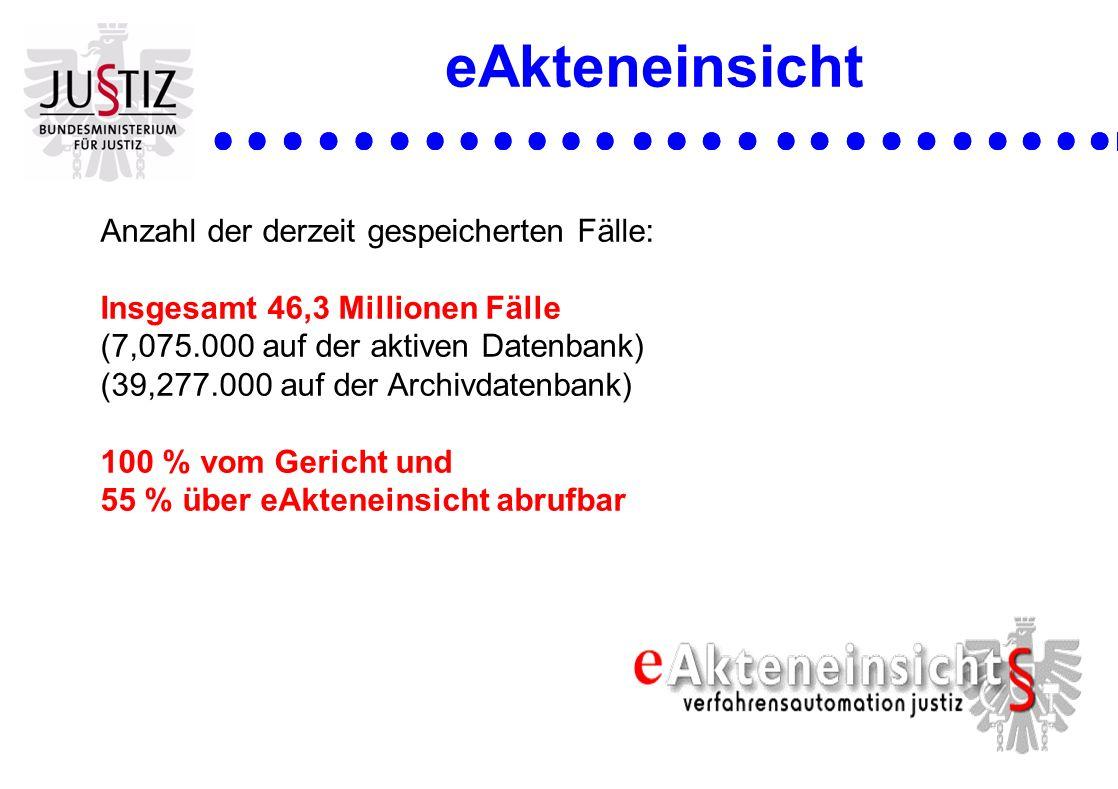 eAkteneinsicht Anzahl der derzeit gespeicherten Fälle: Insgesamt 46,3 Millionen Fälle (7,075.000 auf der aktiven Datenbank) (39,277.000 auf der Archiv