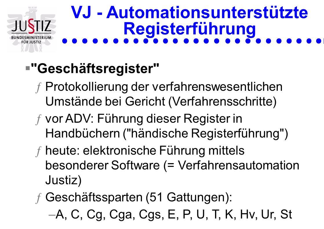ADV-Registerführung Geschichtliche Entwicklung ƒBeginn: 1986 mit dem automatisierten Mahnverfahren –Ziel: Rationalisierung und Beschleunigung der Verfahren ƒ1987: Automatisierung des C-Registers ƒ1990: Einbringung von Klagen über den ERV ƒ1994: Erweiterung der Automatisierung auf E, A und Cg/a/s ƒ1995: Vereinfachtes E-Bewilligungsverfahren