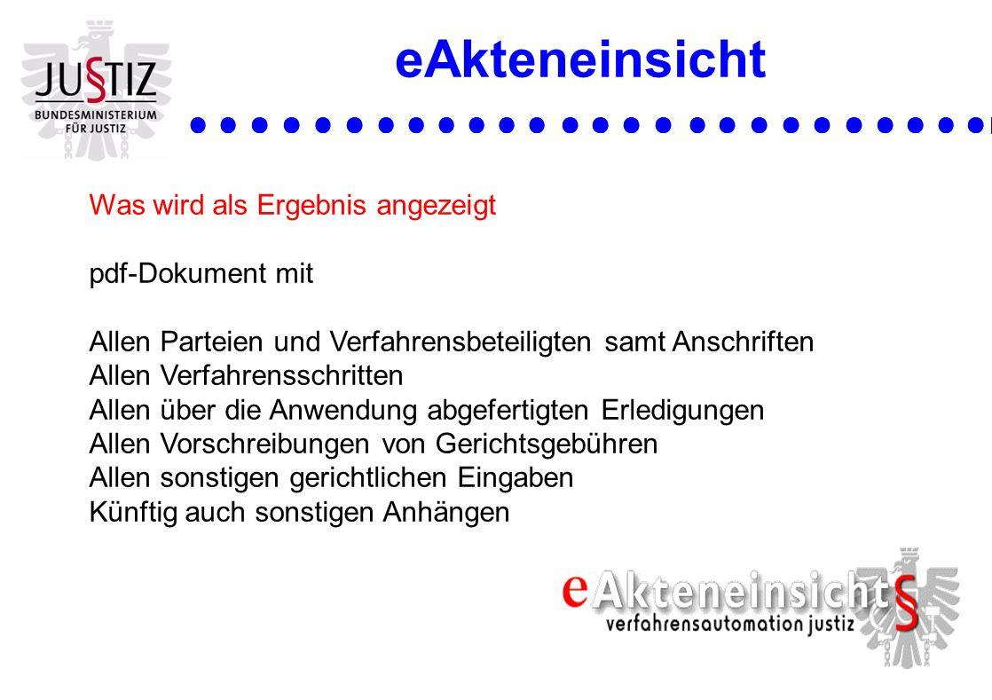 eAkteneinsicht Was wird als Ergebnis angezeigt pdf-Dokument mit Allen Parteien und Verfahrensbeteiligten samt Anschriften Allen Verfahrensschritten Al