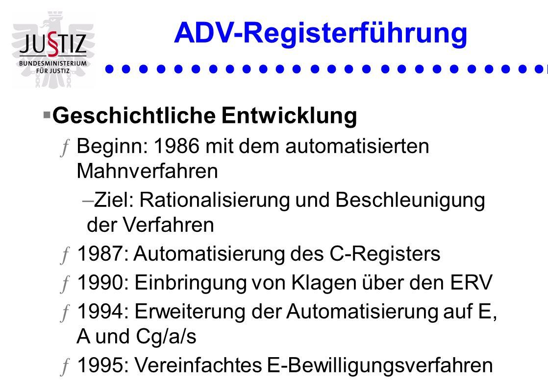 ADV-Registerführung Geschichtliche Entwicklung ƒBeginn: 1986 mit dem automatisierten Mahnverfahren –Ziel: Rationalisierung und Beschleunigung der Verf