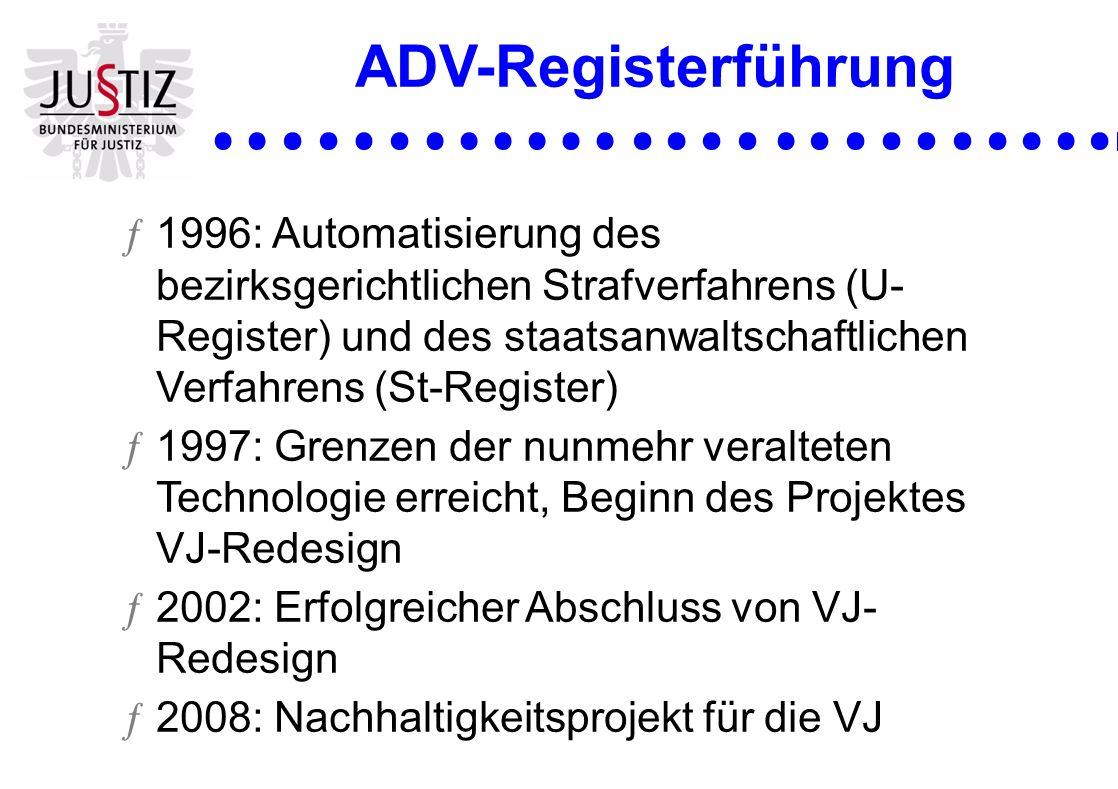 ADV-Registerführung ƒ1996: Automatisierung des bezirksgerichtlichen Strafverfahrens (U- Register) und des staatsanwaltschaftlichen Verfahrens (St-Regi