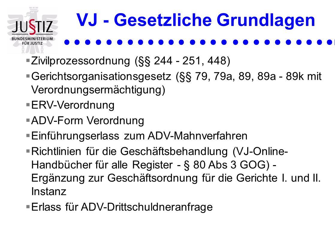 VJ - Gesetzliche Grundlagen Zivilprozessordnung (§§ 244 - 251, 448) Gerichtsorganisationsgesetz (§§ 79, 79a, 89, 89a - 89k mit Verordnungsermächtigung
