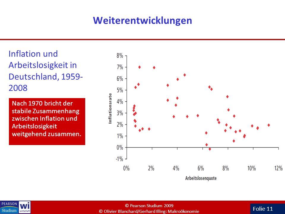 Folie 11 Weiterentwicklungen Nach 1970 bricht der stabile Zusammenhang zwischen Inflation und Arbeitslosigkeit weitgehend zusammen. Inflation und Arbe