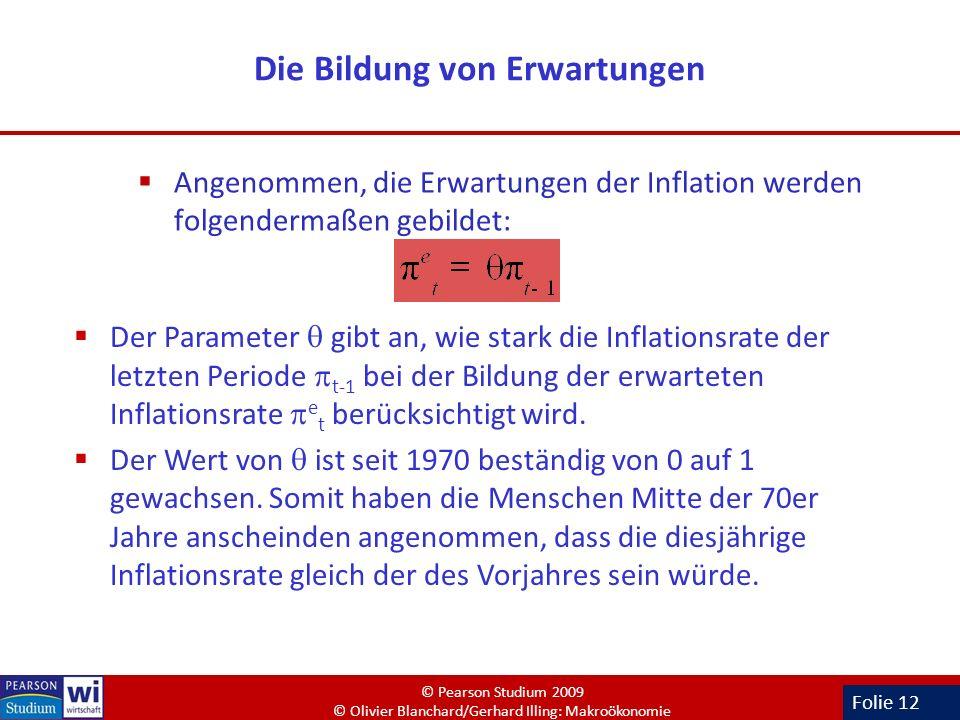 Folie 12 Die Bildung von Erwartungen Angenommen, die Erwartungen der Inflation werden folgendermaßen gebildet: Der Parameter gibt an, wie stark die In