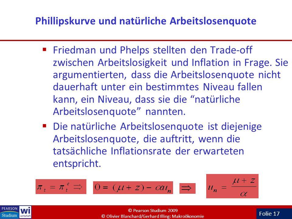 Folie 17 Phillipskurve und natürliche Arbeitslosenquote Friedman und Phelps stellten den Trade-off zwischen Arbeitslosigkeit und Inflation in Frage. S