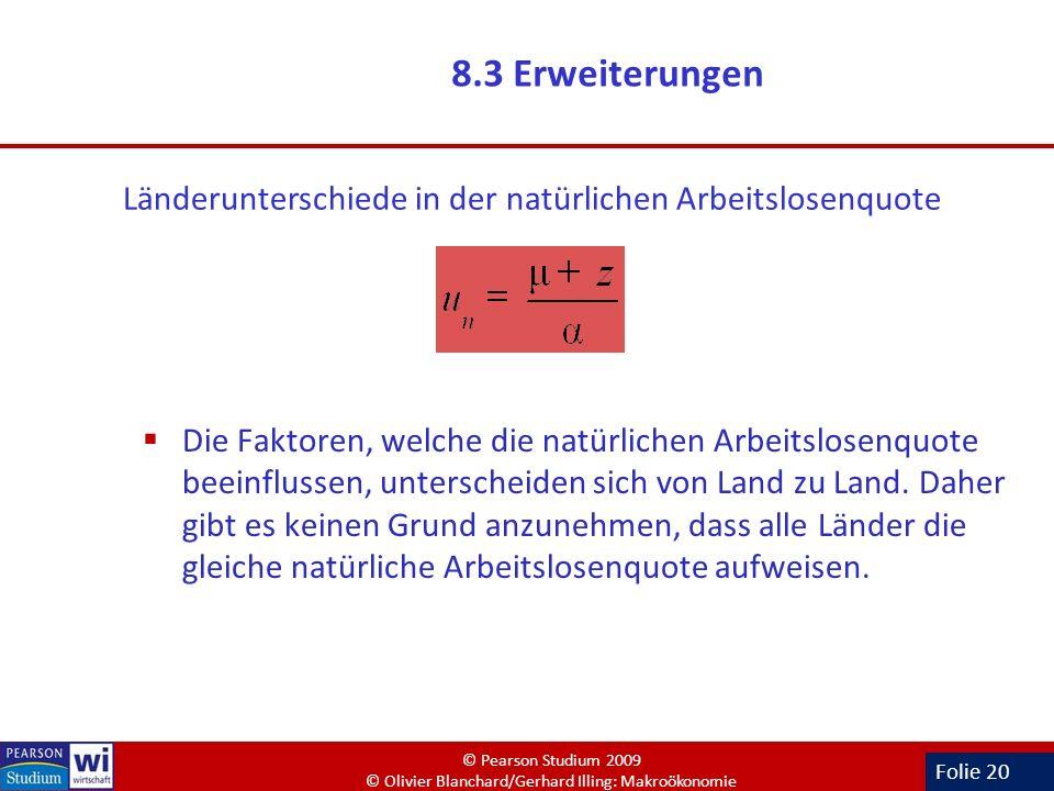 Folie 20 8.3 Erweiterungen Die Faktoren, welche die natürlichen Arbeitslosenquote beeinflussen, unterscheiden sich von Land zu Land. Daher gibt es kei