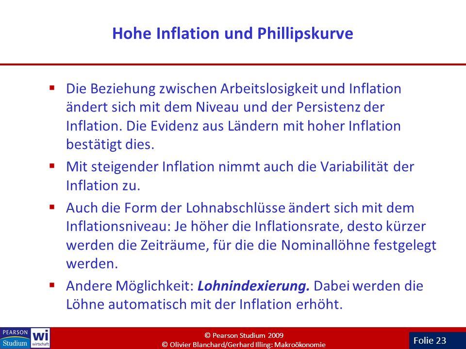 Folie 23 Hohe Inflation und Phillipskurve Die Beziehung zwischen Arbeitslosigkeit und Inflation ändert sich mit dem Niveau und der Persistenz der Infl