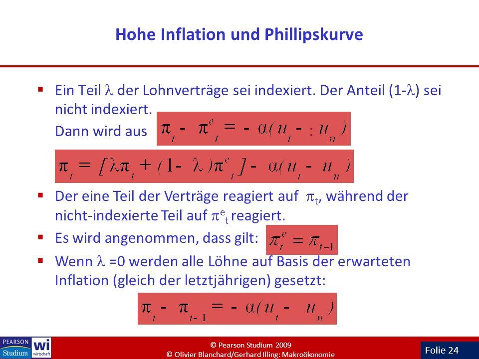 Folie 24 Hohe Inflation und Phillipskurve Ein Teil der Lohnverträge sei indexiert. Der Anteil (1- ) sei nicht indexiert. Dann wird aus : Der eine Teil