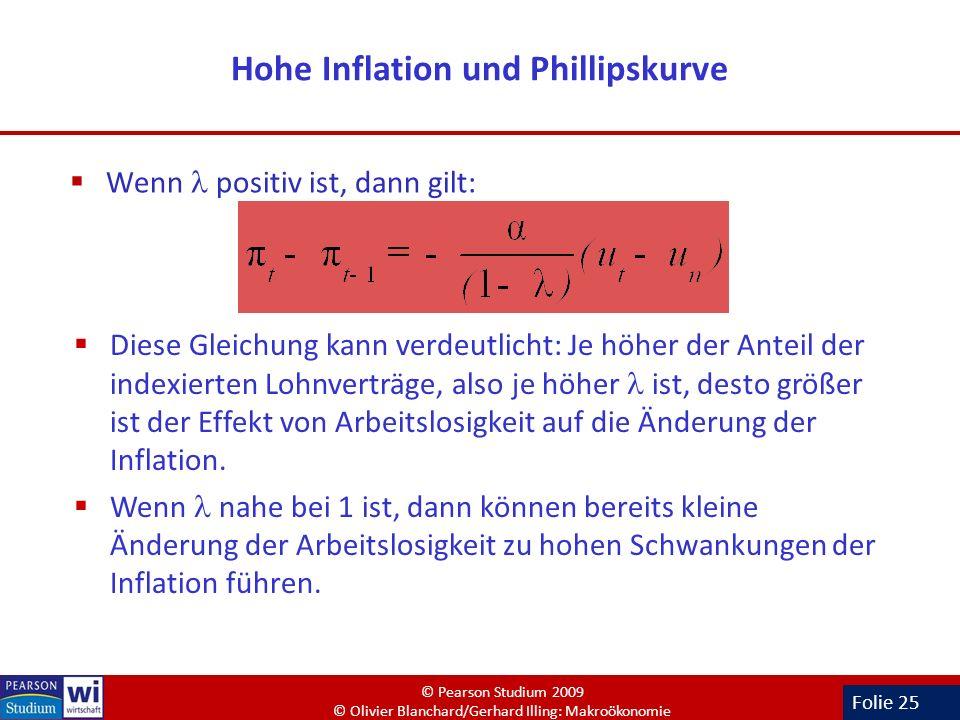 Folie 25 Hohe Inflation und Phillipskurve Wenn positiv ist, dann gilt: Diese Gleichung kann verdeutlicht: Je höher der Anteil der indexierten Lohnvert
