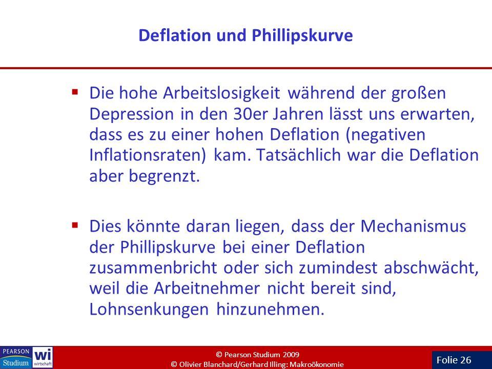 Folie 26 Deflation und Phillipskurve Die hohe Arbeitslosigkeit während der großen Depression in den 30er Jahren lässt uns erwarten, dass es zu einer h