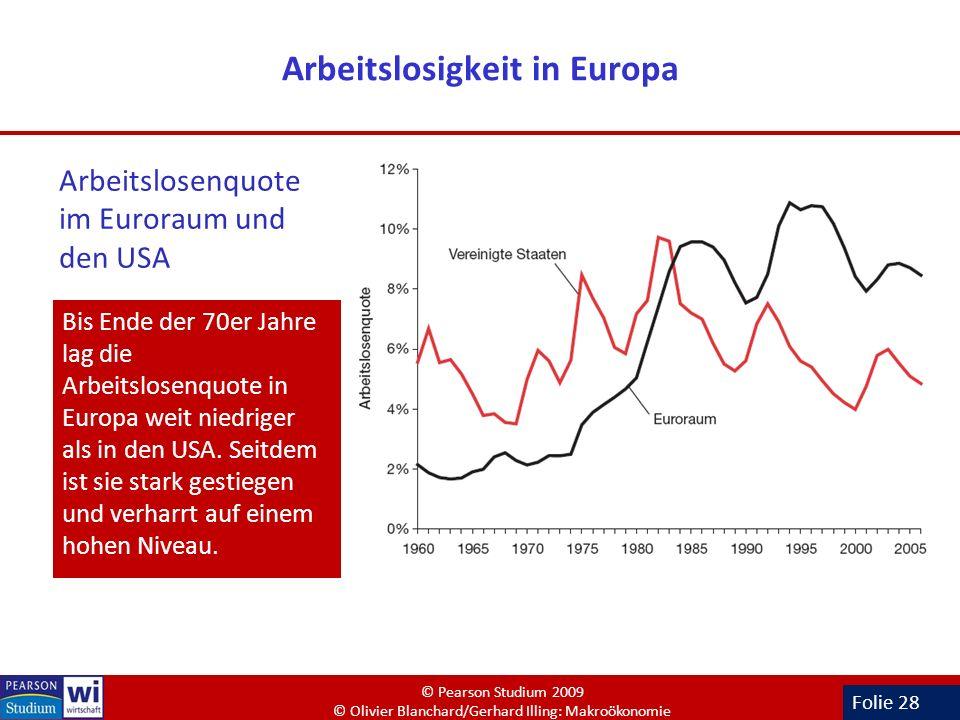 Folie 28 Arbeitslosigkeit in Europa Arbeitslosenquote im Euroraum und den USA Bis Ende der 70er Jahre lag die Arbeitslosenquote in Europa weit niedrig