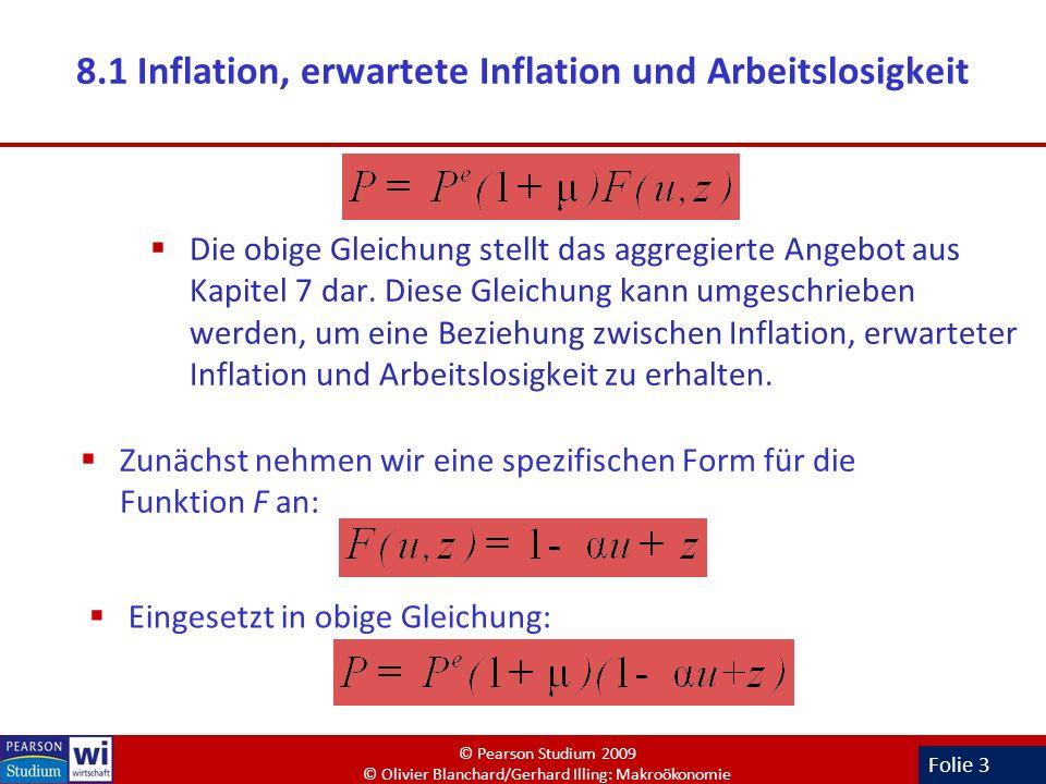 Folie 3 8.1 Inflation, erwartete Inflation und Arbeitslosigkeit Die obige Gleichung stellt das aggregierte Angebot aus Kapitel 7 dar. Diese Gleichung