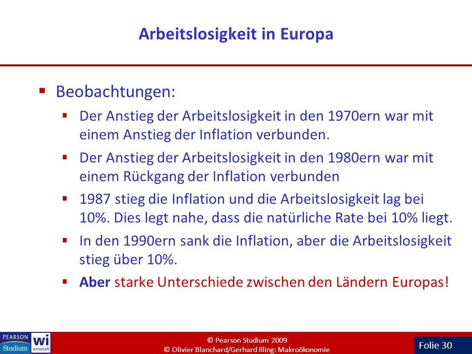 Folie 30 Arbeitslosigkeit in Europa Beobachtungen: Der Anstieg der Arbeitslosigkeit in den 1970ern war mit einem Anstieg der Inflation verbunden. Der
