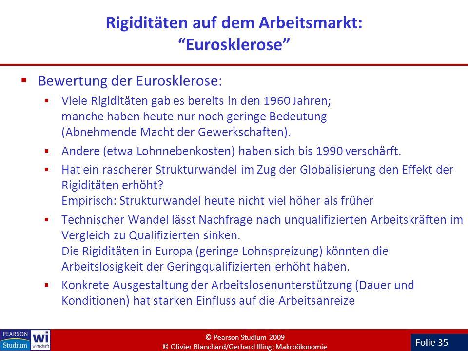 Folie 35 Rigiditäten auf dem Arbeitsmarkt: Eurosklerose Bewertung der Eurosklerose: Viele Rigiditäten gab es bereits in den 1960 Jahren; manche haben