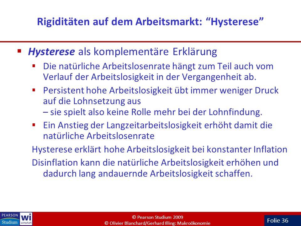 Folie 36 Rigiditäten auf dem Arbeitsmarkt: Hysterese Hysterese als komplementäre Erklärung Die natürliche Arbeitslosenrate hängt zum Teil auch vom Ver